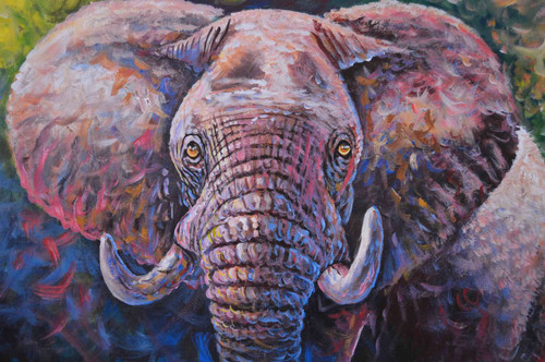 "Elephant oil painting African inspired 36"" W x 24"" H"