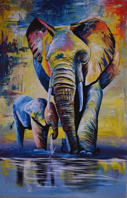 African mother and baby elephant oil painting