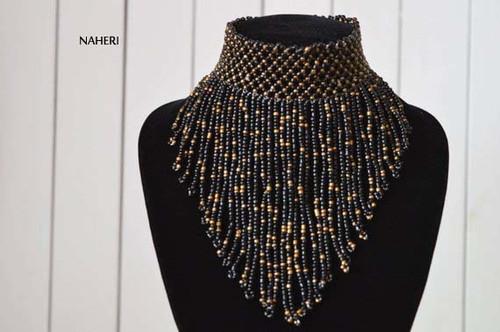 African inspired choker necklace black fringe
