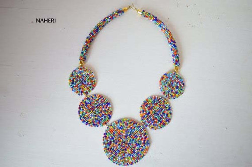 African inspired necklace mixed color jewelry