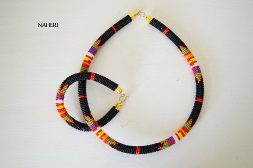 Black African zulu beaded choker necklace