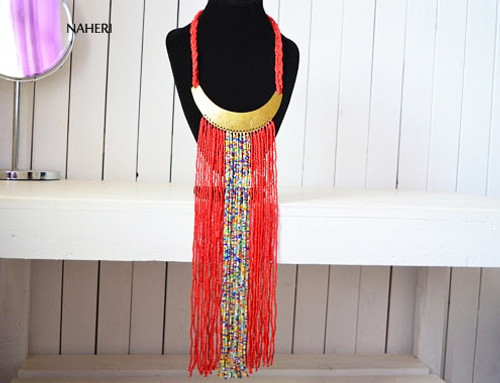 African handmade fringe necklace red with brass tribal jewelry