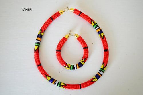 Red beaded necklace African Zulu handmade jewelry