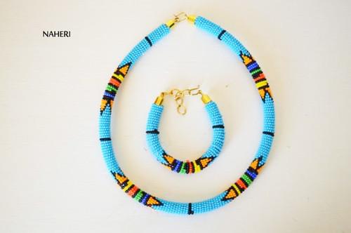 Sky blue beaded African necklace Zulu handmade jewelry