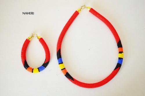 Red beaded African necklace Zulu handmade jewelry