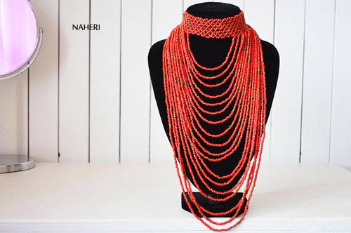 African handmade choker necklace red tribal jewelry