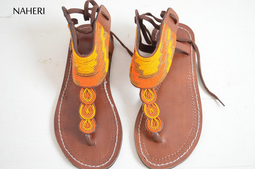 African beaded leather sandals women summer shoes