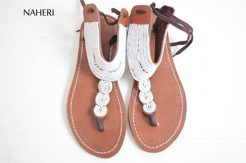 African maasai white beaded sandals for women summer shoes