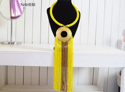 African tribal necklace beaded yellow fringe jewelry with brass