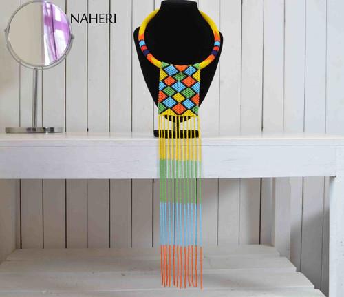 African zulu maasai necklace beaded fringe statement neck piece tribal jewelry