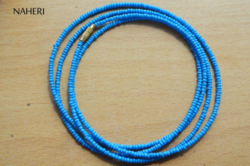 African waist beads hot blue color beaded jewelry