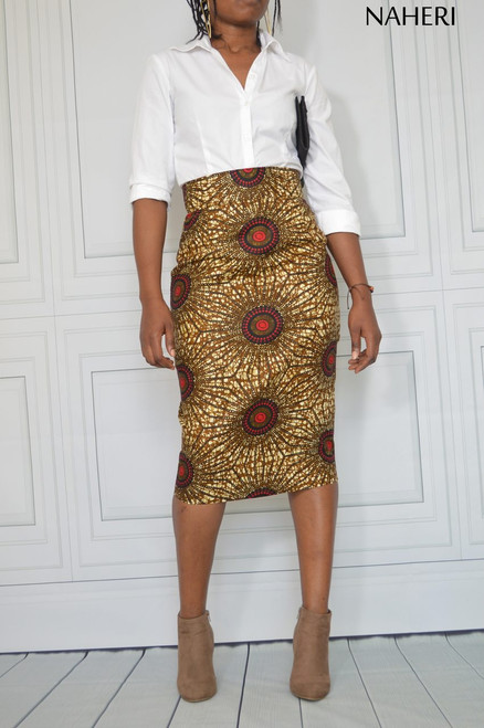 African print cotton pencil skirt - NINA ankara print skirt