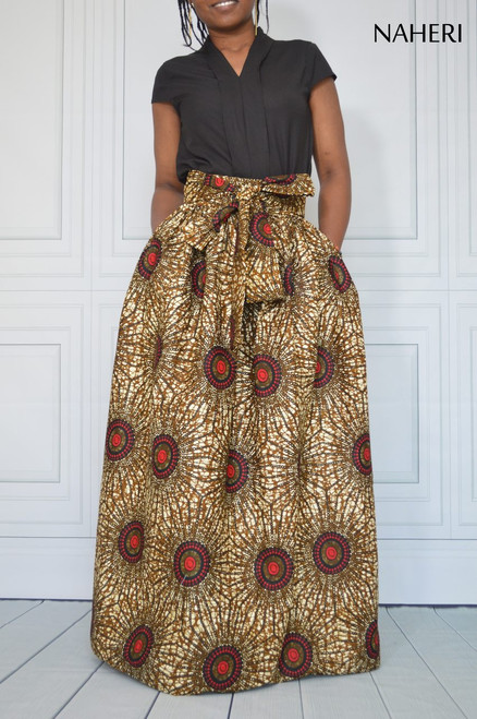 African print maxi skirt cotton - ELENA skirt with sash/tie belt