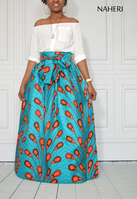African clothing ankara maxi skirt peacock feather print turquoise