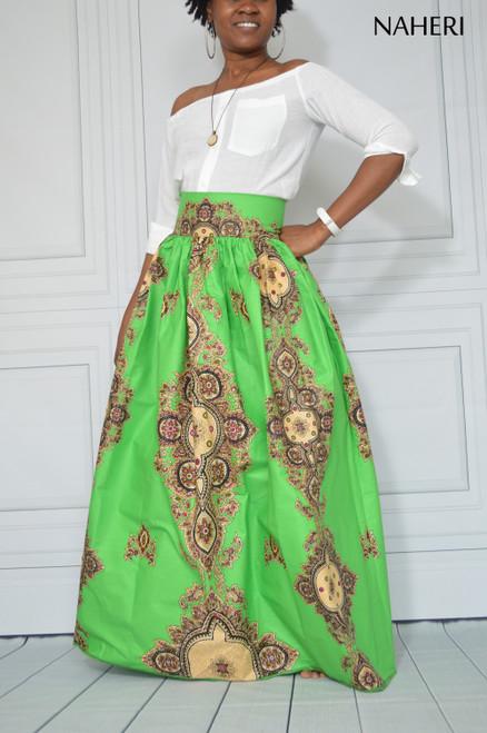 African print maxi skirt - LUNA green ankara skirt with sash/tie belt