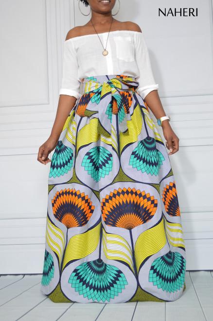 African print maxi skirt - KIKI ankara skirt with sash/tie belt