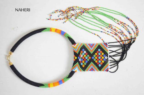 African zulu beaded necklace black fringe statement jewelry