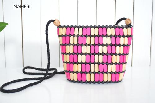 African wooden beads multicolored handbag