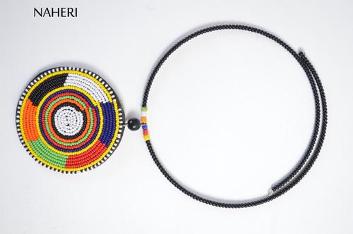 Tribal African beaded pendant necklace ethnic jewelry