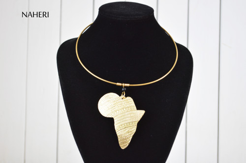 African map pendant brass metal necklace tribal jewelry naheri