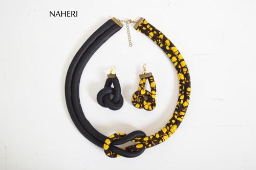 African print rope necklace and earrings set tribal handmade jewelry naheri batik