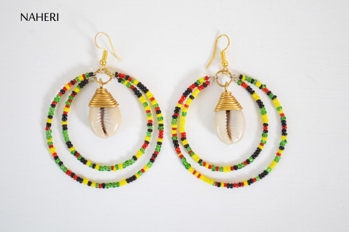 African beaded earrings with cowrie shell rasta color beads naheri