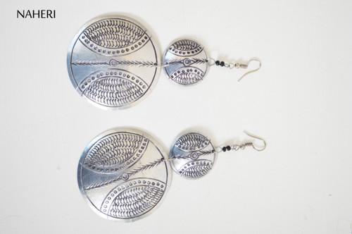 African inspired metal earrings handmade engraved tribal jewelry naheri