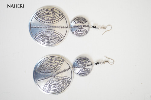 African inspired metal earrings handmade engraved tribal jewelry naheri