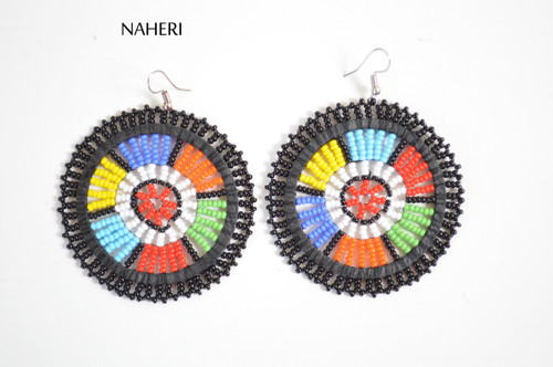 African black zulu beaded round earrings