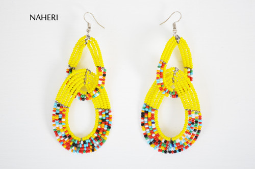 African beaded maasai double hoop earrings yellow naheri