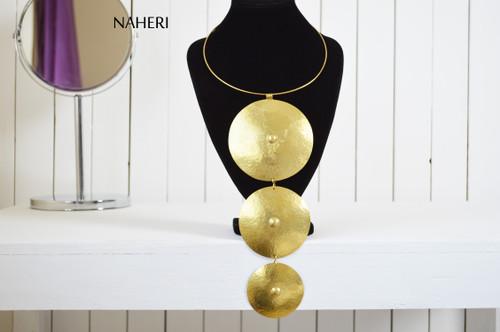 African brass metal necklace handmade statement jewelry naheri