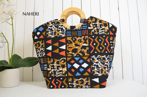 African tribal animal print handbag round handles naheri