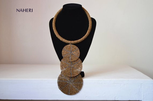 African beaded pendant necklace copper