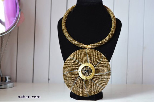 Copper disc African beaded Necklace