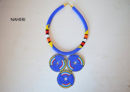 African inspired bush blue tribal necklace