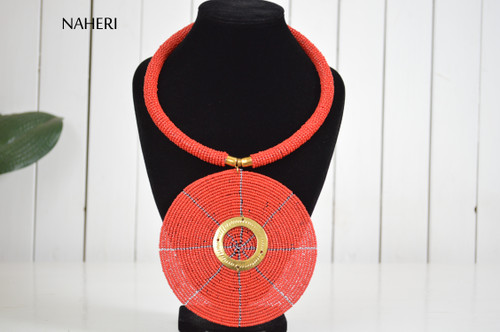 African beaded red pendant necklace trendy jewelry naheri