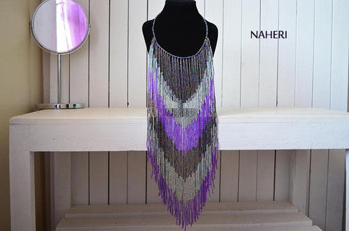 African handmade fringe necklace long purple
