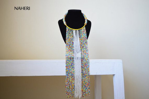 White and mixed beads African beaded fringe necklace