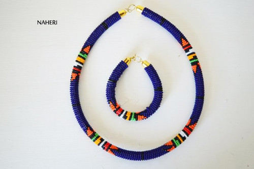 African zulu beaded choker necklace dark blue