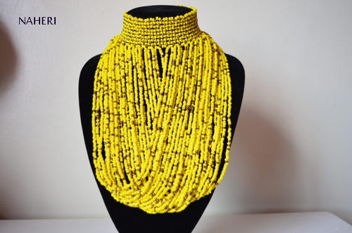 African choker necklace yellow beaded jewelry