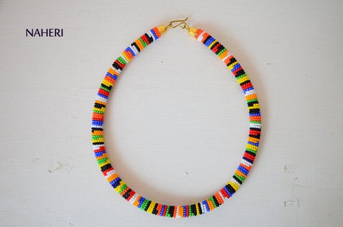 Mixed color African beaded Zulu necklace