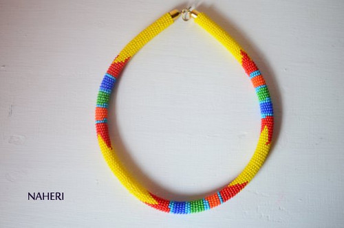 Yellow African beaded Zulu necklace