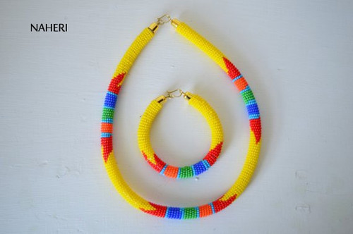 Yellow African beaded Zulu necklace with bracelet