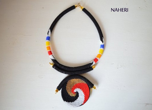 Black African tribal beaded necklace