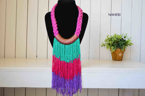 African handmade beaded necklace fringe purple pink turquoise