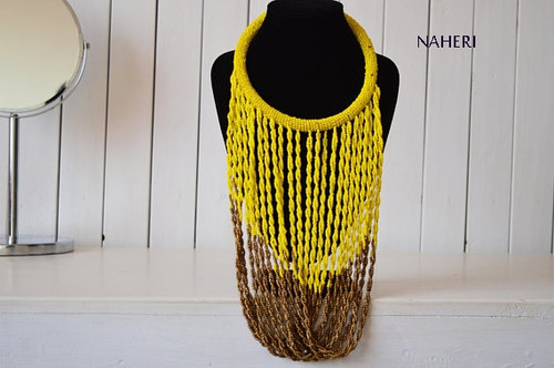 Yellow African beaded infinity fringe necklace