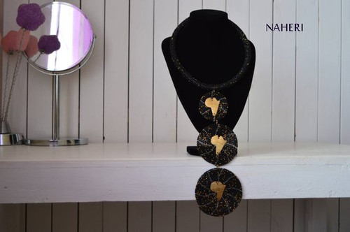 African beaded necklace handmade black
