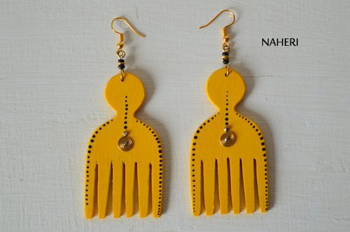 African inspired afro comb wooden tribal earrings