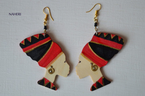 African head wrap wooden earrings red and black