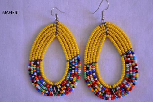 African inspired earrings. African beaded tribal earrings. African jewelry.